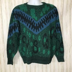 Vintage Knit Sweater Cosby Style Crewneck Green XL